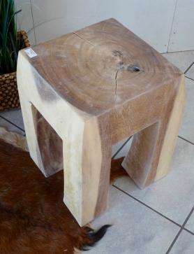Wunderhalle Hocker Holz Butcher Block H 49cm 33x33cm Gekalkt